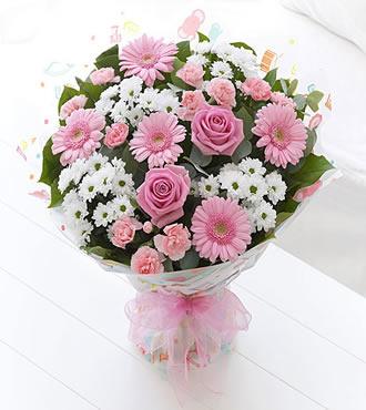 Beyaz Pembe Mevsim Buketi manisa da çiçek
